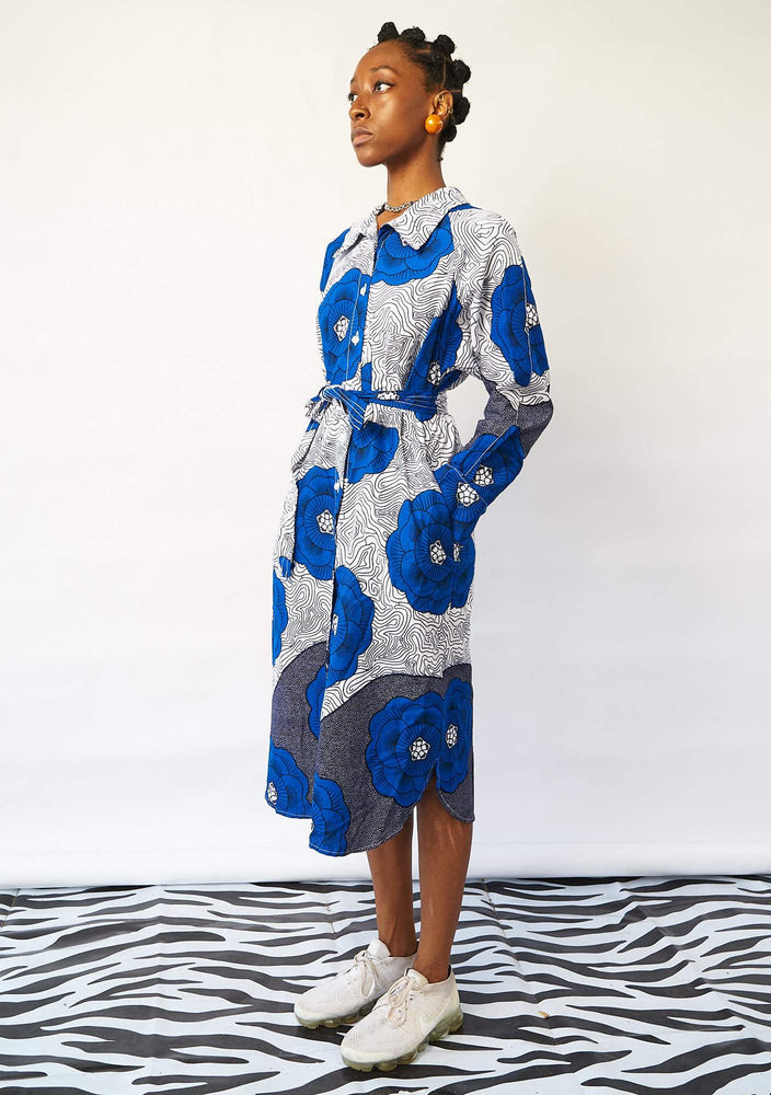 Basic Shirt Dress - Blue Flowers