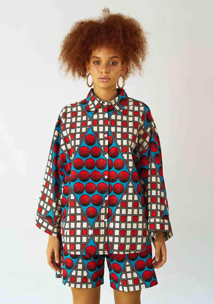 YEVU Women - Top Big Blouse - Domino