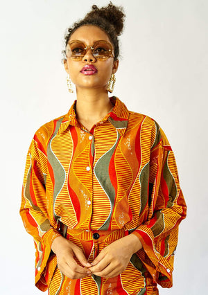 YEVU Women - Top Big Blouse - Lava Lamp