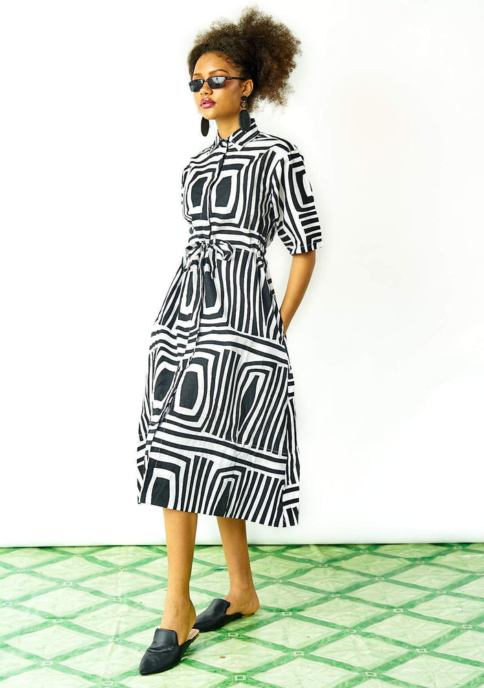 Drawstring Midi Dress - Monochrome