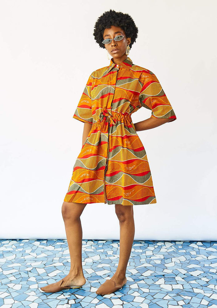 Half Drawstring Dress - Lava Lamp