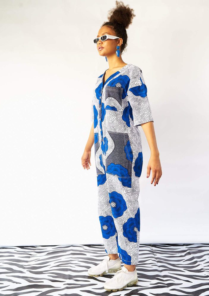 YEVU Women - One Piece Lax Jumpsuit - Blue Flowers