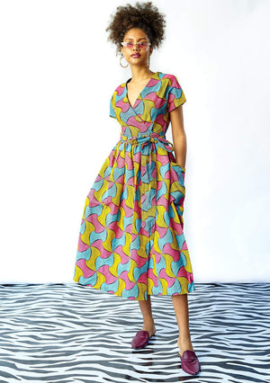 YEVU Women - Dress Midi Wrap Dress - Lolly Pops