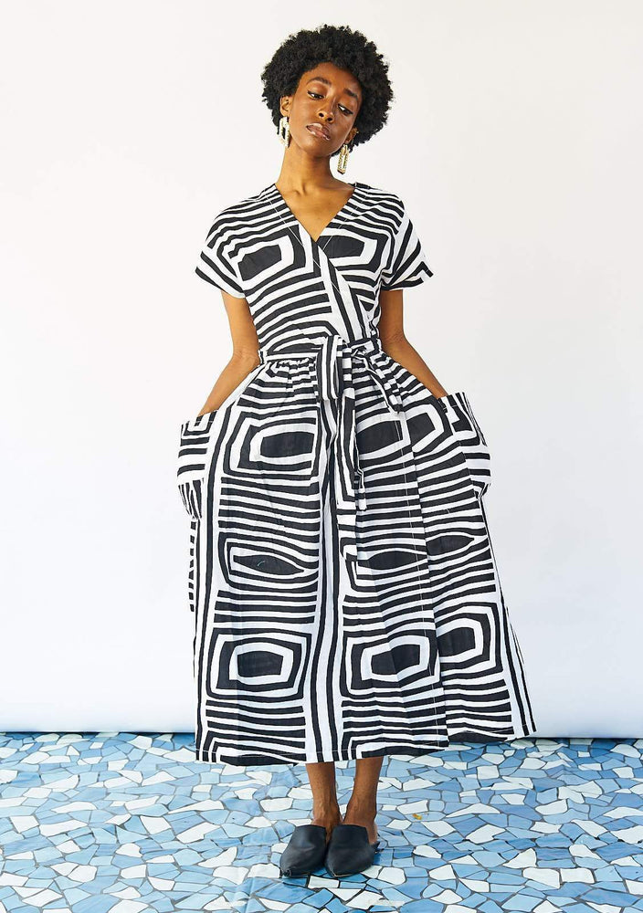 Midi Wrap Dress - Monochrome