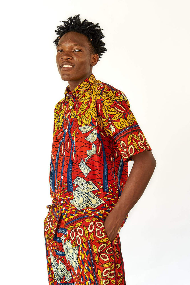 YEVU Men - Shirt Short Sleeve Shirt - Money Tree