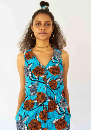 YEVU Women - Dress Simple Button Down Dress - Native