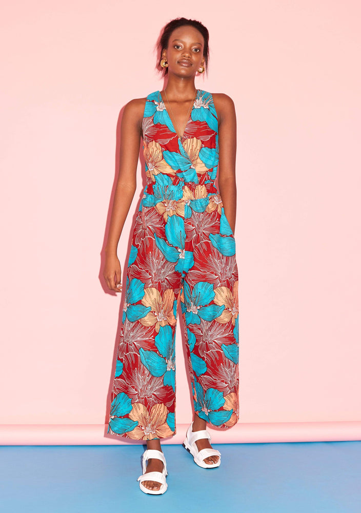 YEVU Women - One Piece Wide Leg Crossover Jumpsuit - Lily
