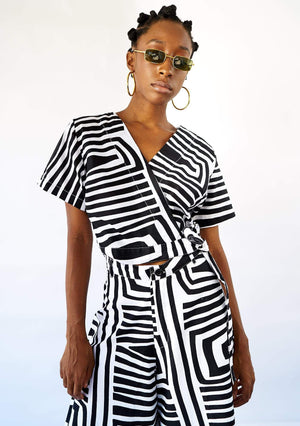 YEVU Women - Top Wrap Top - Monochrome