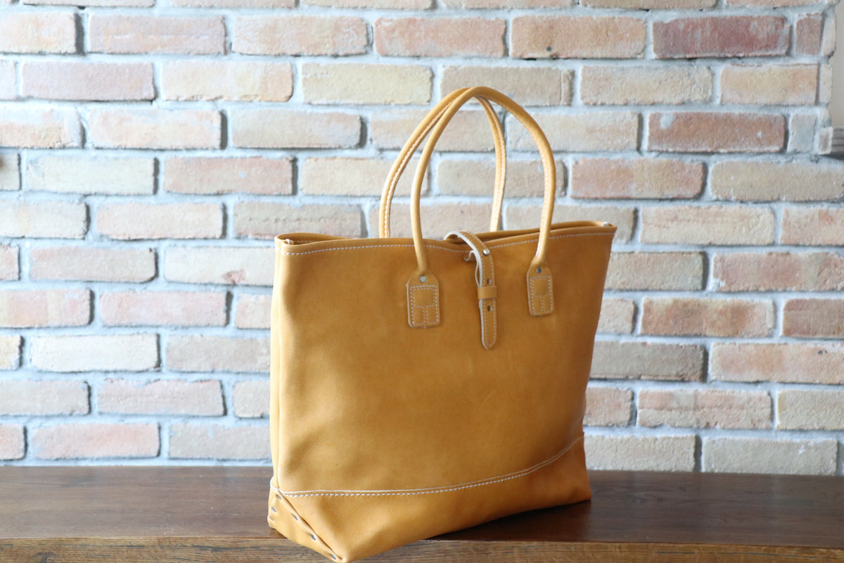 Leather Tote: Yellow Gold