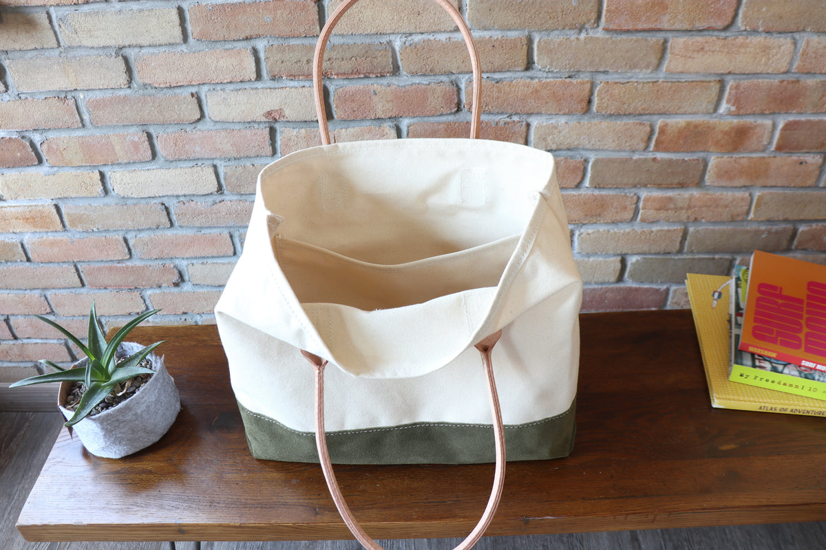 Day Tote (W):       Natural / Olive Suede