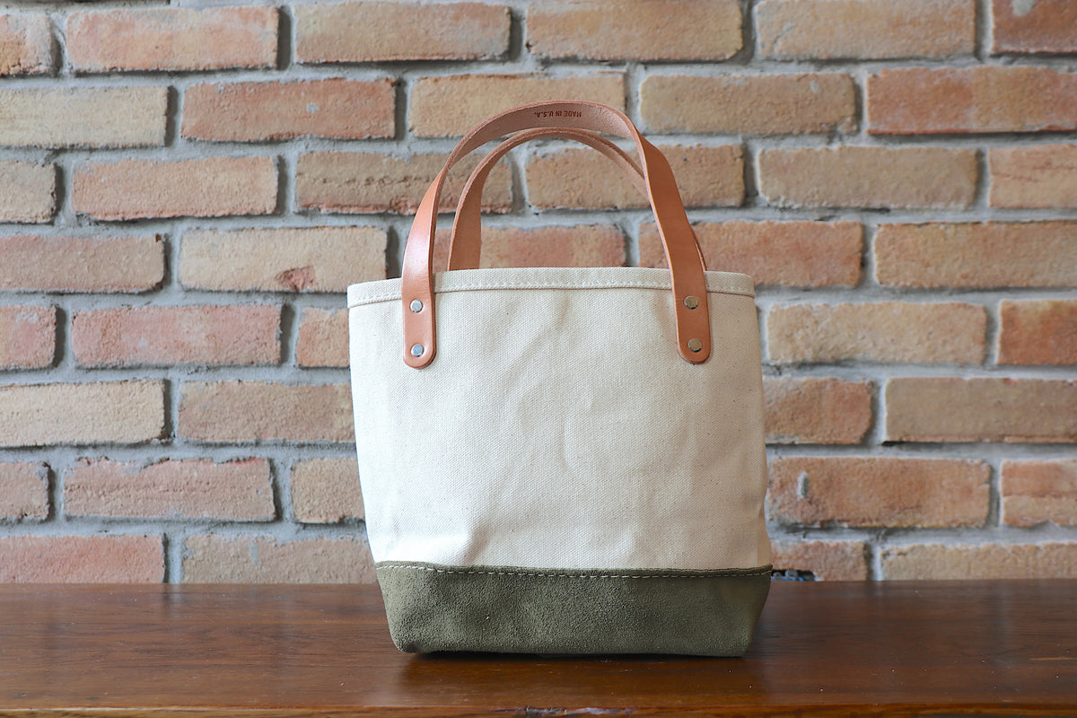 Mini Tote: Natural x Olive Suede