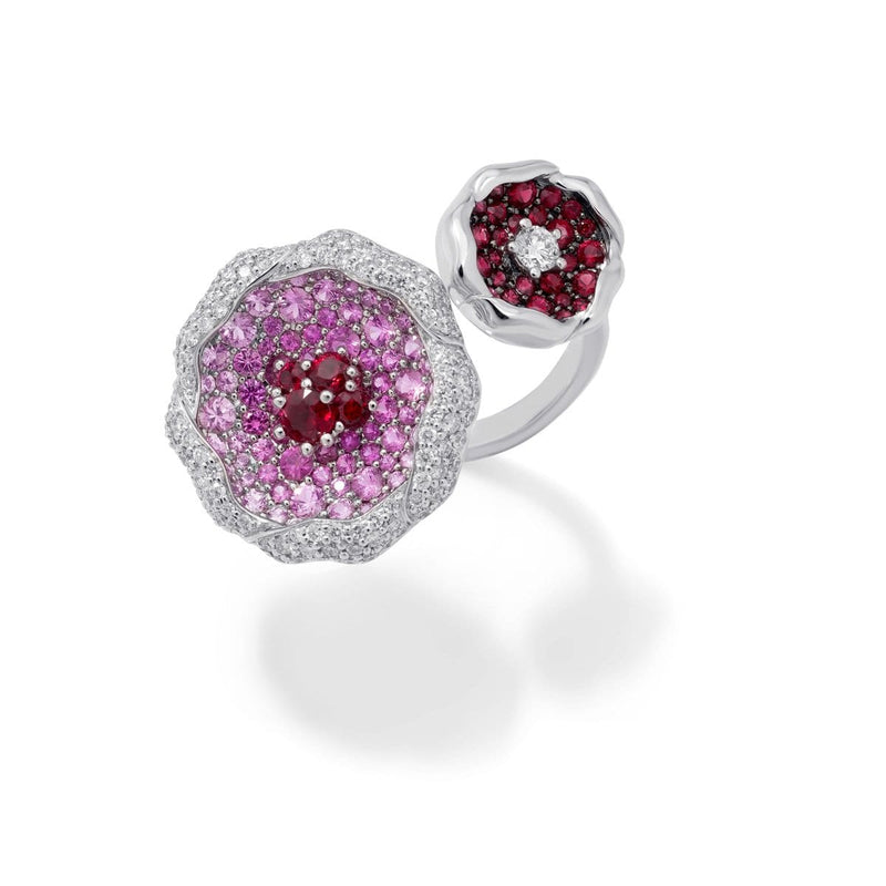 SAKURA Pink Sapphire and Ruby Double Ring