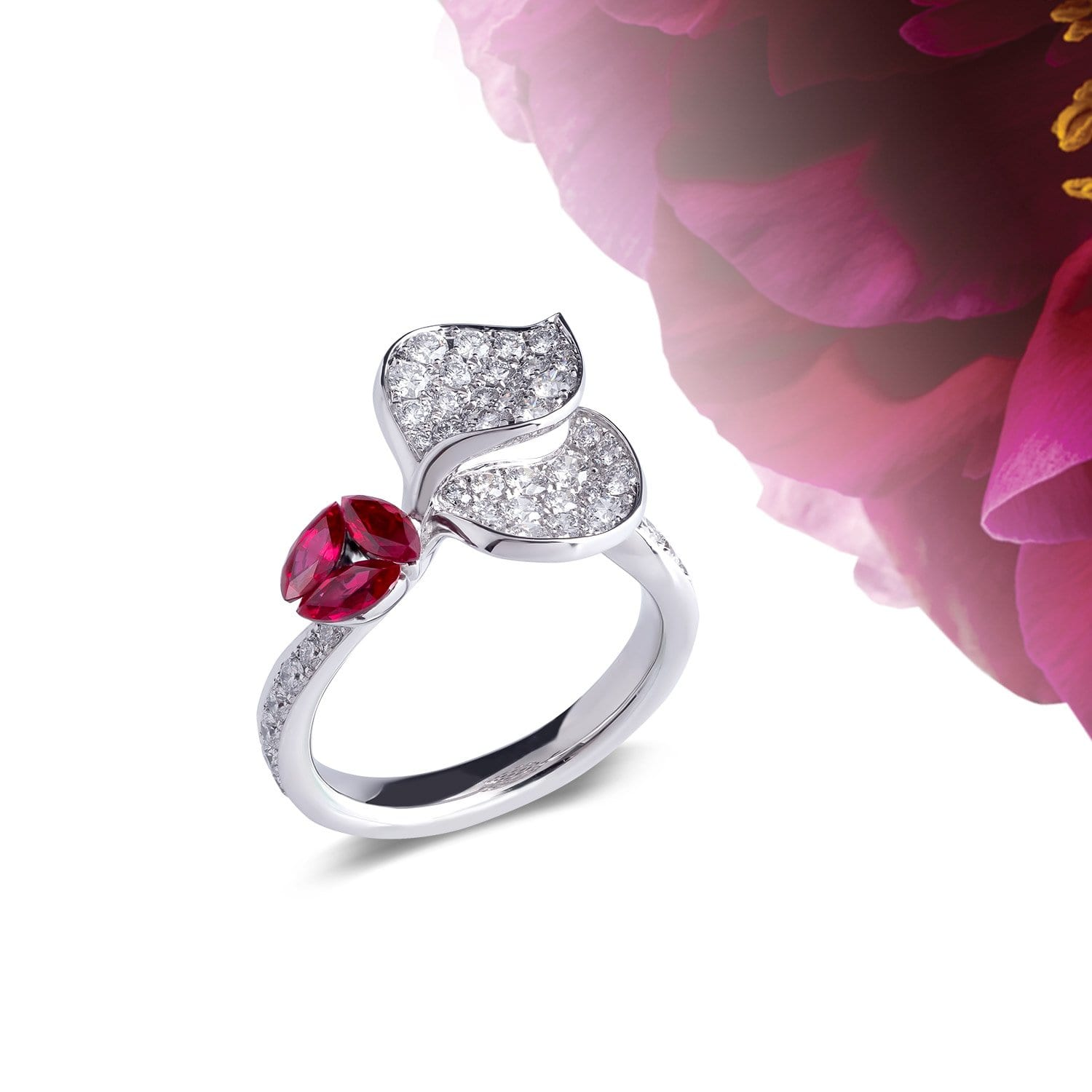 À FLEUR DE PARIS Ruby Double Leaf Ring