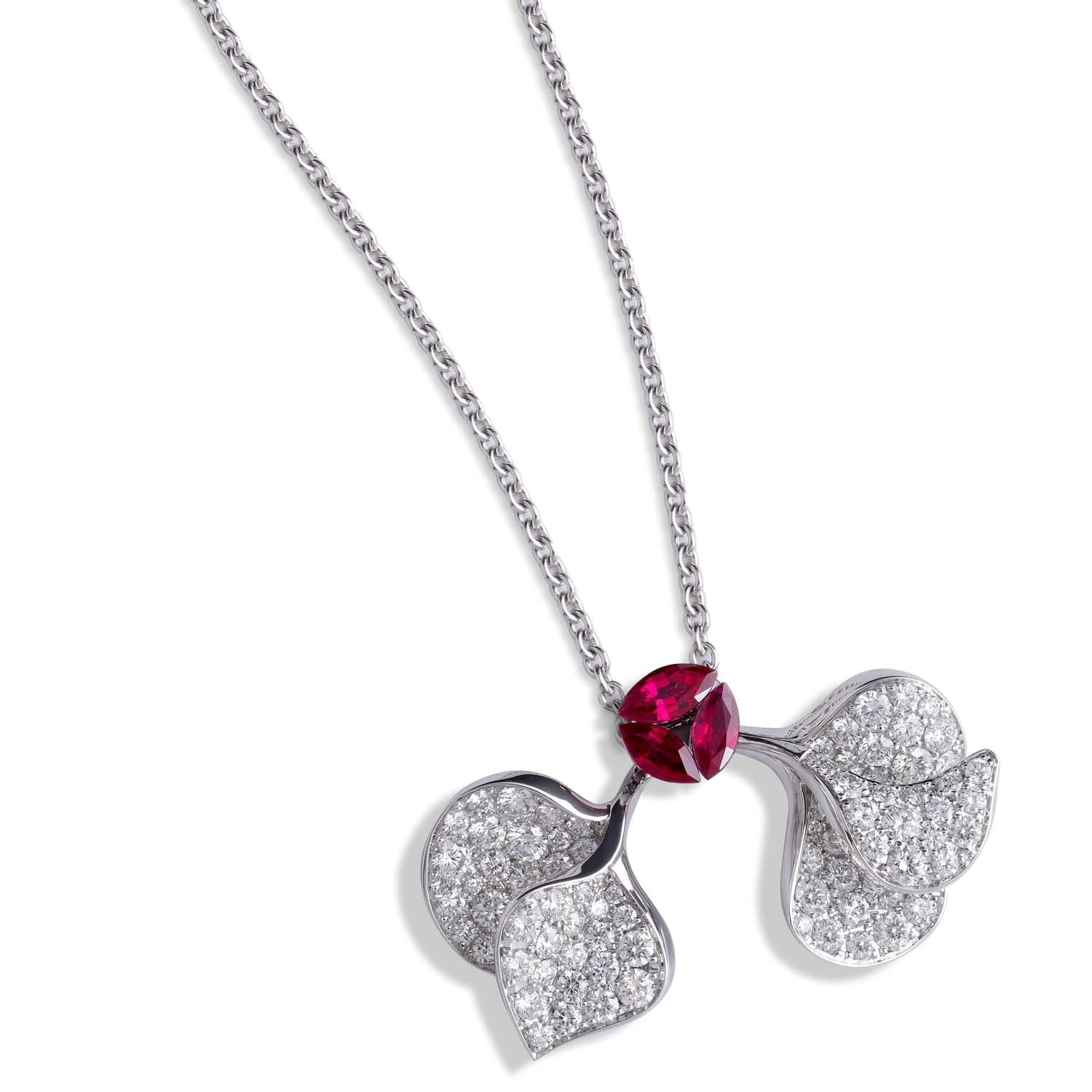 À FLEUR DE PARIS Ruby Double Leaf Pendant