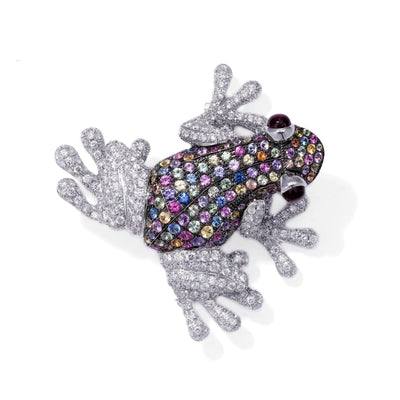 VINTAGE: Wild Life Frog, Mixed Sapphire Brooch