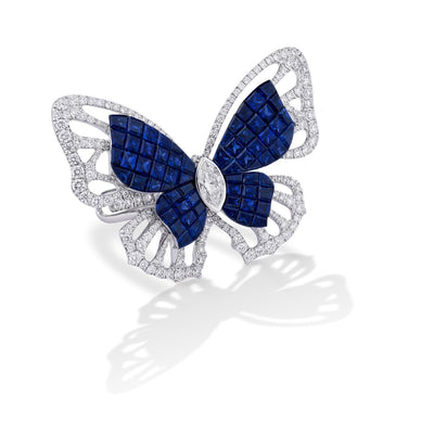 MADEMOISELLE B., KIMONO Ring in sapphires