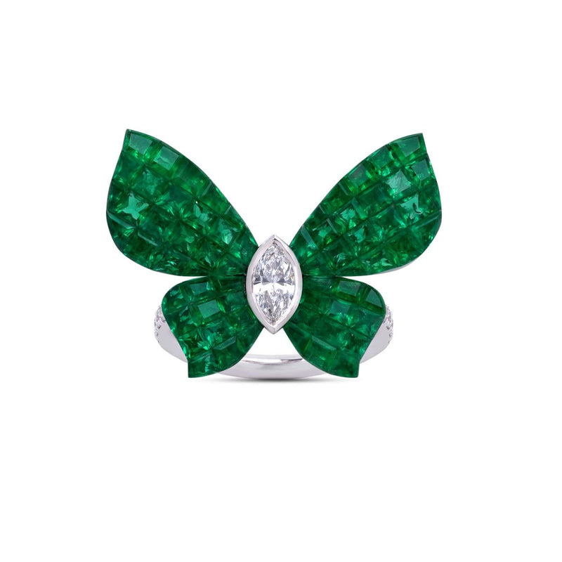 MADEMOISELLE B., KIMONO Ring in emeralds - STENZHORN JEWELLERY