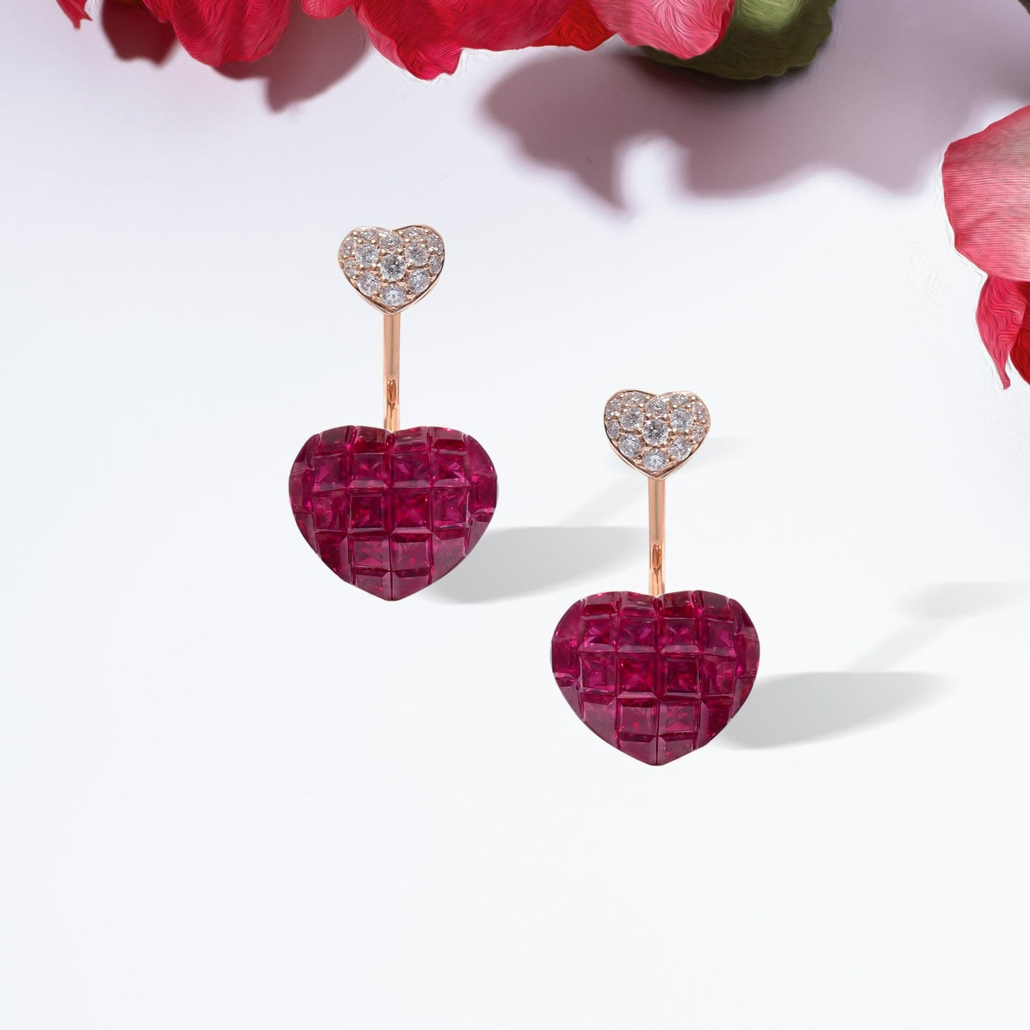 BEE MINE Ruby Heart Earrings