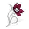VINTAGE: MOSAIC Brooch, Ruby Flower
