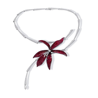 Invisible setting jewelry, rubies, diamonds, flower, wild orchid
