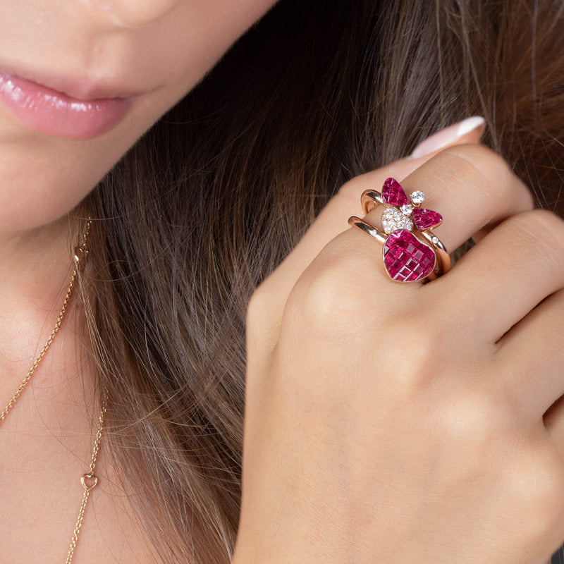 BEE MINE Ruby Heart Ring