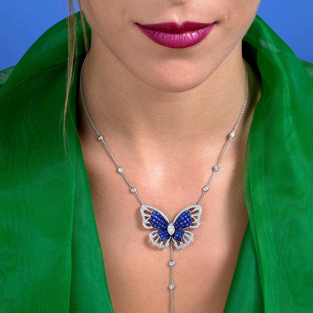 MADEMOISELLE B., KIMONO Necklace in sapphires