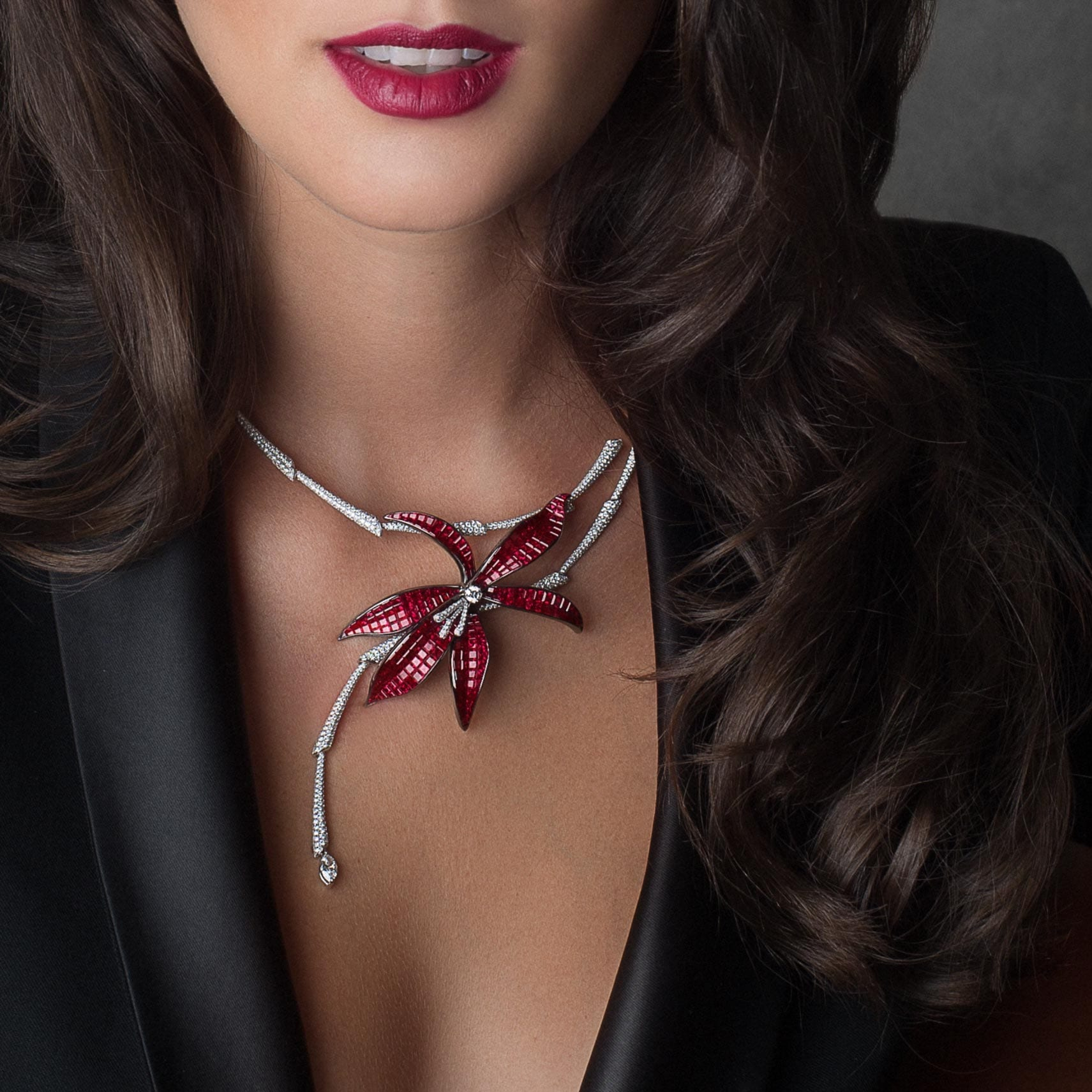 THE NOBLE ONES, WILD ORCHID Necklace Rubies