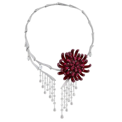 Invisible setting jewelry, rubies, diamonds, chrysanthemum, flower