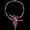 Stenzhorn Invisible setting jewelry necklace, rubies, diamonds, flower,