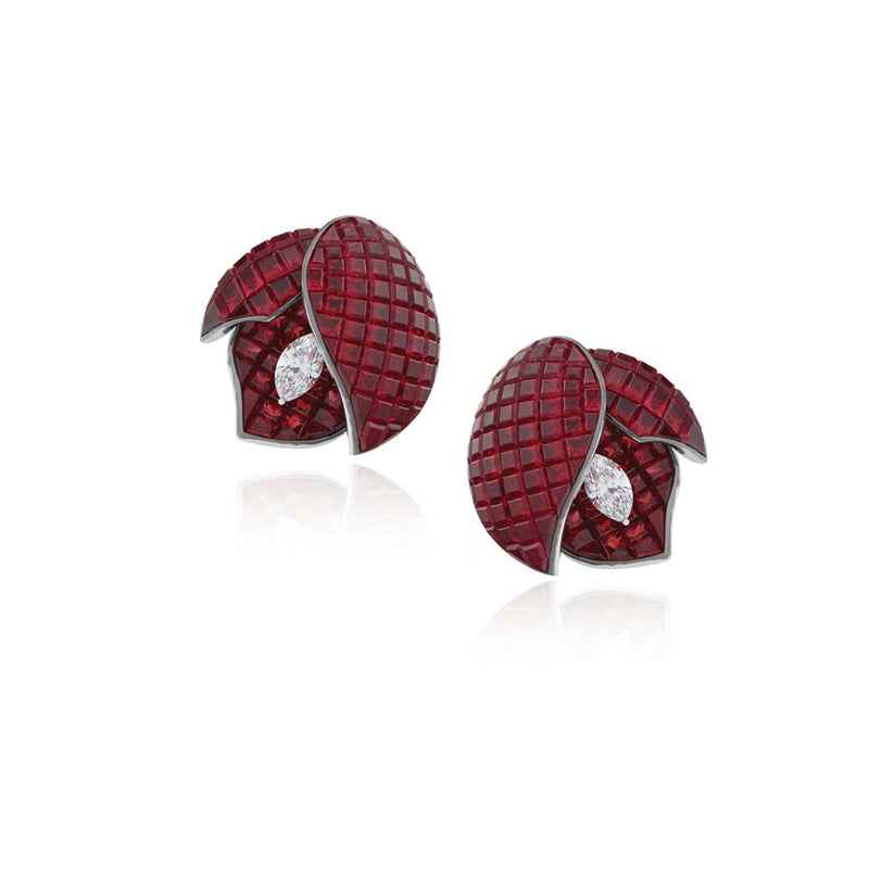 Stenzhorn Invisible setting jewelry earrings, rubies, diamonds, flower,