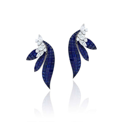 Stenzhorn Invisible setting jewelry earrings, sapphires, diamonds, flower,