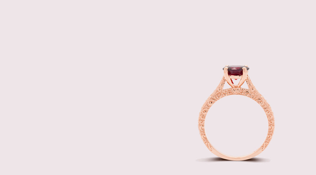 Vintage style engagement rings rose gold and Garnet