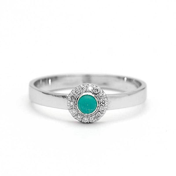 Turquoise Engagement Ring Diamond Halo