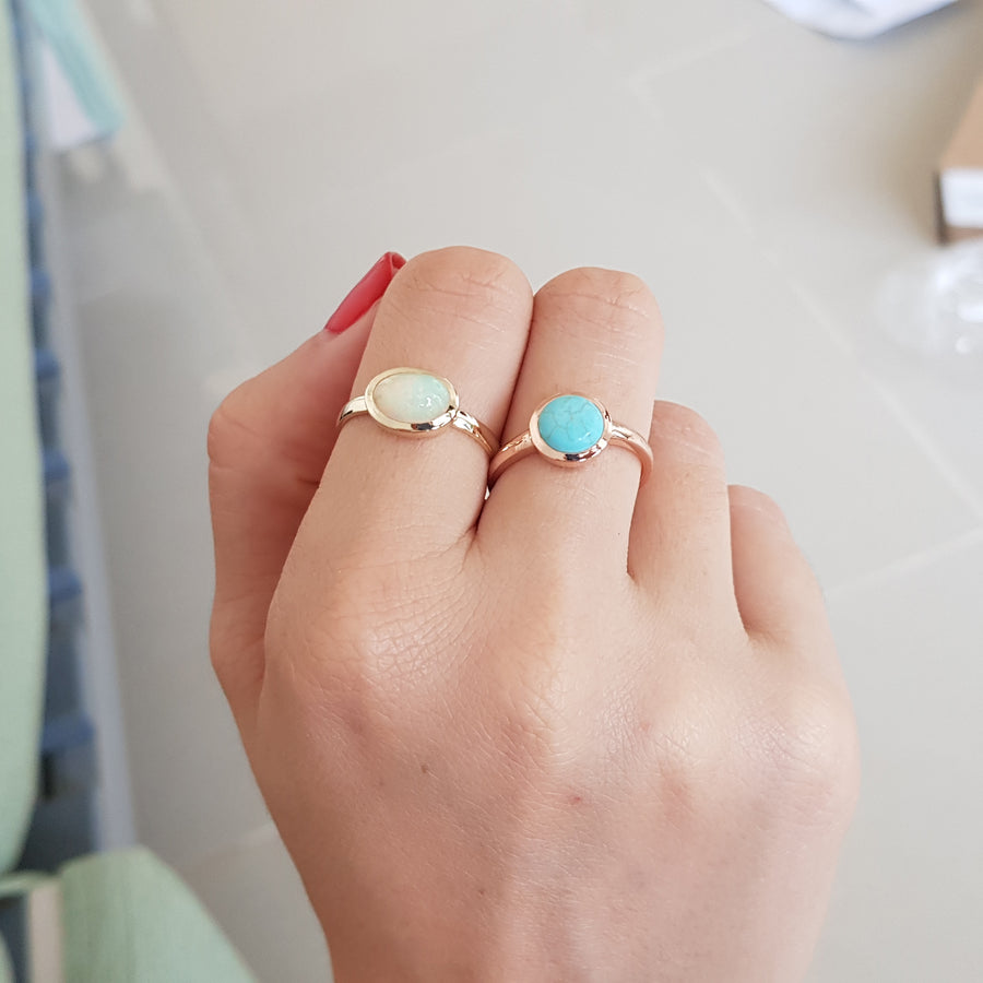 Turquoise Engagement Ring In Rose Gold - Setareh Ring