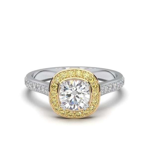 White and Yellow Diamonds Engagement Ring