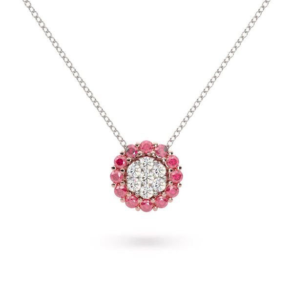 Ruby and Diamond Flower Necklace