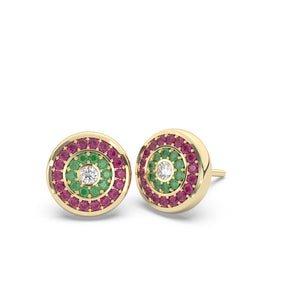 Emerald Diamond Ruby Earrings