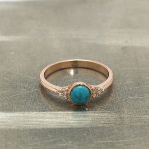 Rose Gold Turquoise Engagement Ring - Firooz Diamond Ring