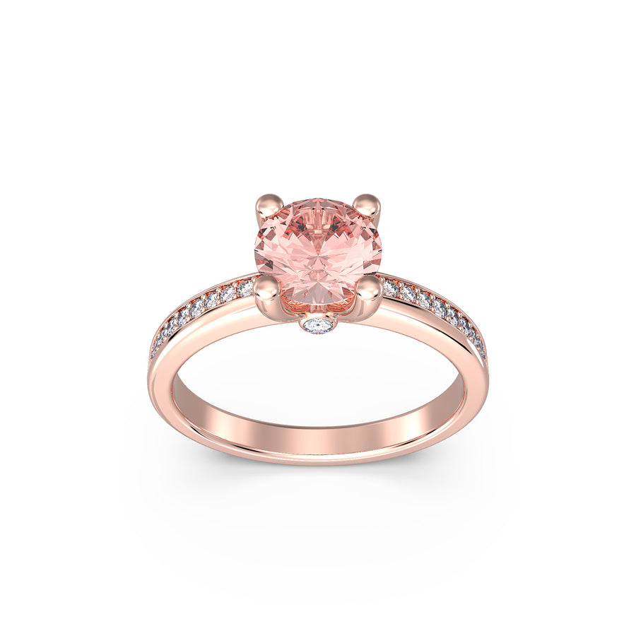 rose gold morganite ring with diamonds