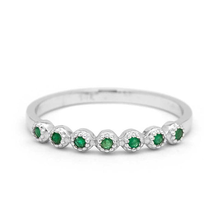 emerald wedding ring half eternity ring