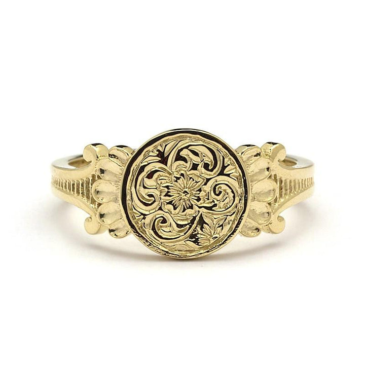14k Gold Signet Ring Womens - Aria Signet Ring