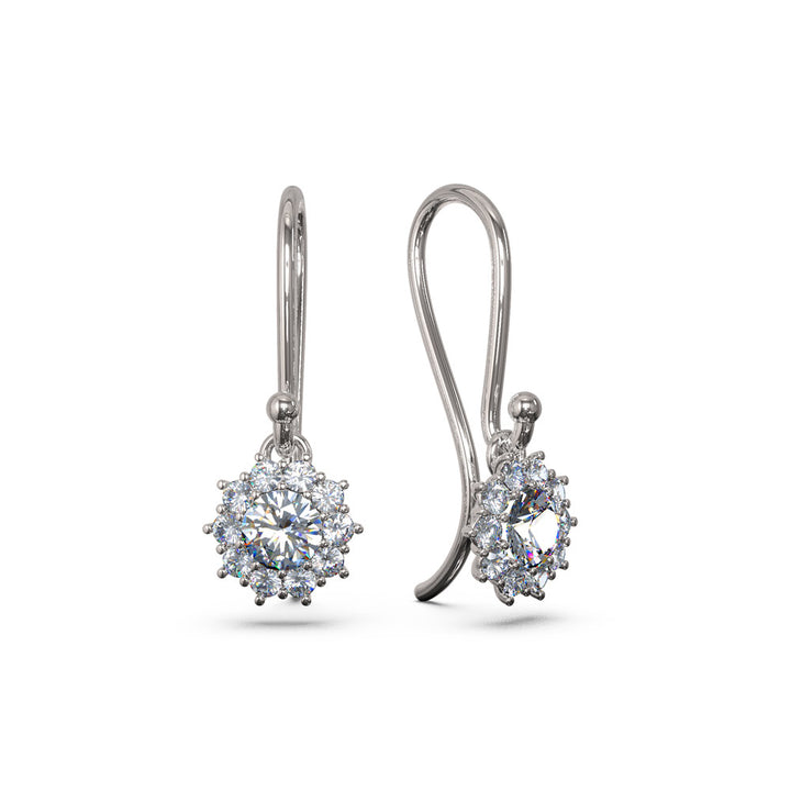 Diamond halo dangling earrings