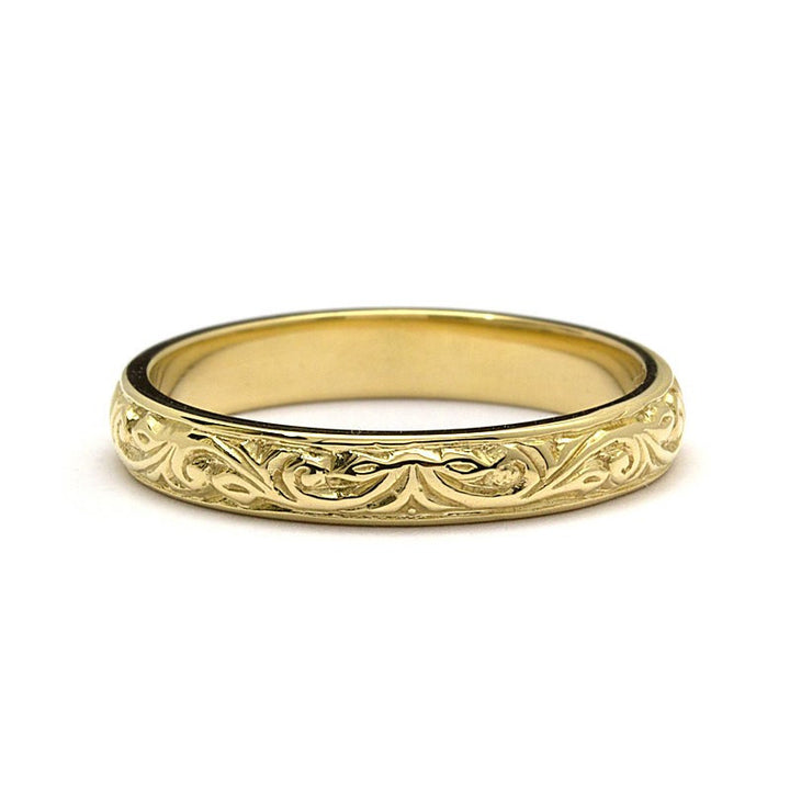 Engraved Foliage Wedding Band