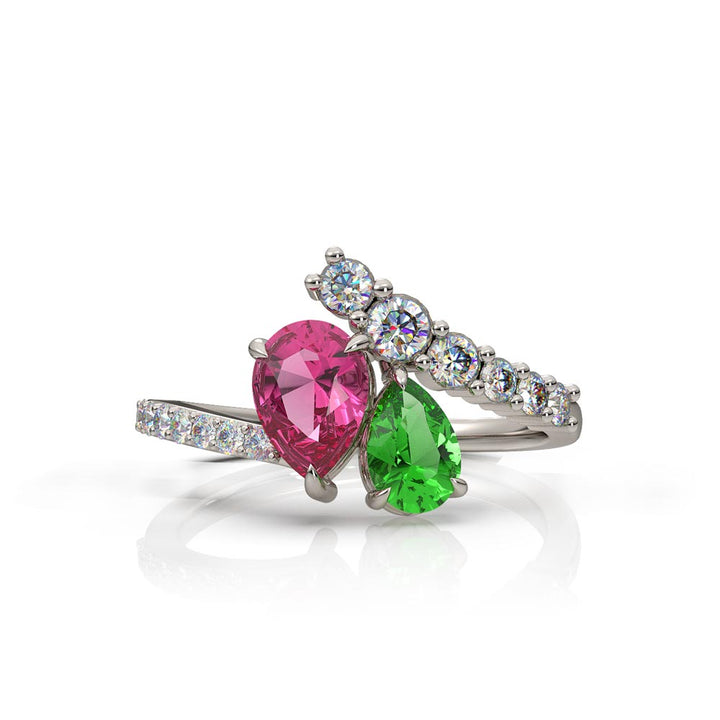 Green and Pink Pear Tourmaline Ring