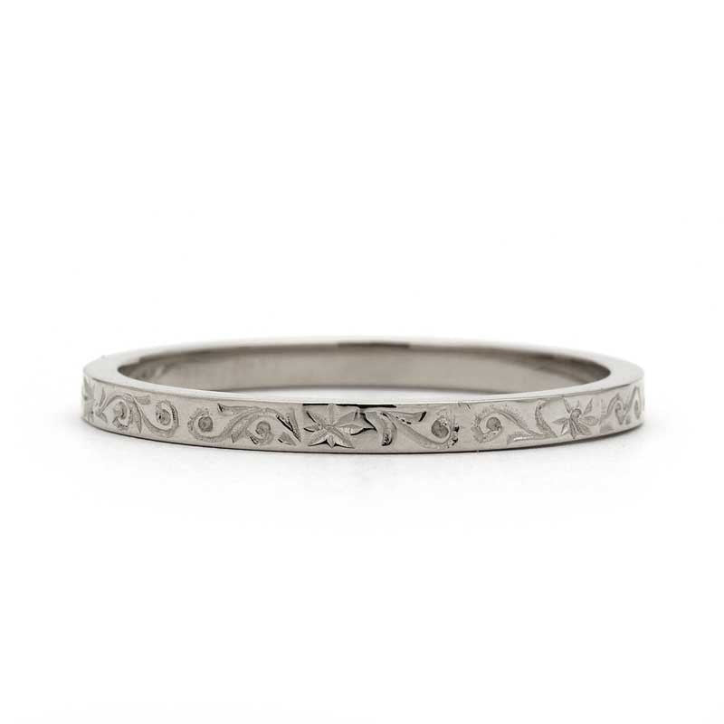 Hand Engraved Rose Wedding Ring