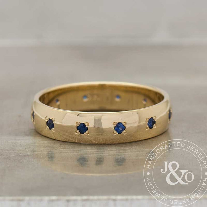 sapphire wedding band yellow gold