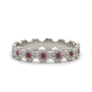 vintage style wedding band rubies