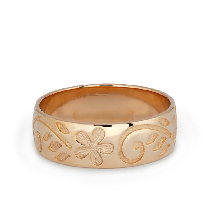 Rose Gold Floral Wedding Band
