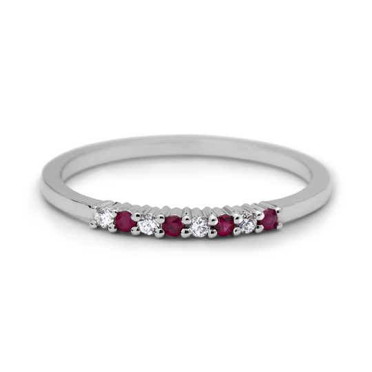 Petite Diamonds and Ruby Wedding Band