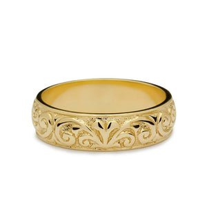 Scrolls Relief Wedding Ring